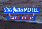 San Juan River Framed Prints - San Juan Motel Sign Framed Print by Troy Montemayor