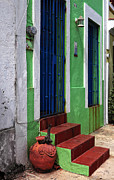 Green Walls Prints - San Juan Red Stairs Print by John Rizzuto