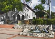 Luis Digital Art - San Luis Mission Fountain by Sharon Foster