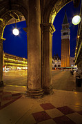 Night Lamp Prints - San Marco at Night Print by Inge Johnsson