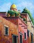 Adobe Buildings Pastels Posters - San Miguel de Allende Poster by Candy Mayer