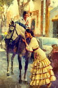 Day Summer Prints - San Miguel Fair in Torremolinos Print by Jenny Rainbow