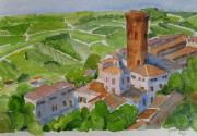 Italian Landscapes Paintings - San Miniato Italy by Janet Butler