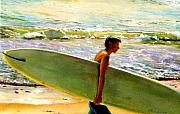 Surfer Art Originals - San O Man by Kathy Dueker