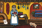 Santa Fe Paintings - San Pascual and Kittens by Victoria De Almeida