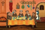 Saint Of Cooks Paintings - San Pascuals Table 2 by Victoria De Almeida