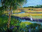 Egret Painting Originals - San Sebastian Headwaters by Pamela Geiger