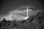 Religious Prints Photo Originals - San Xavier Cross by Jim Harris