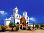 Carvings Prints - San Xavier Del Bac Mission Print by M Diane Bonaparte