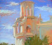 Morning Pastels Originals - San Xavier Mission Tucson by Sandra Ortega