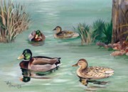 Ducks Paintings - Sanctuary for Ducks by Val Stokes