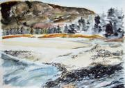 Jan Anderson Watercolors - Sand Beach in Maine by Jan Anderson
