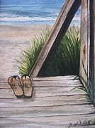 Flip-flops Paintings - Sand Between my Toes by Brad Hook