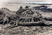 Sandy Beaches Posters - Sand dragon sculputure Poster by Garry Gay