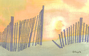Outer Banks Paintings - Sand Fences by Robert Boyette