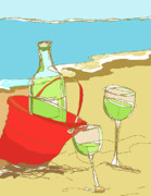 Wine Glasses Digital Art Posters - Sand Pail Wine Bucket Poster by Peggy Wilson