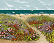 Umbrella Paintings - Sand Path by Katherine Young-Beck