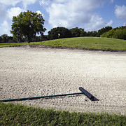 Landscaped Prints - Sand Rake on a Golf Course Print by Skip Nall
