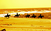 Horse And Riders Prints - Sand Riders Print by Nick Gustafson
