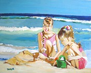 Figurative Prints - Sand Sea and Sisters Print by Judy Kay