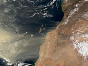Canary Metal Prints - Sand Storm Over Canary Islands Metal Print by Nasa