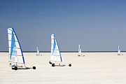 Sports Clothing Framed Prints - Sand Yachting On Beach Framed Print by Jorg Greuel