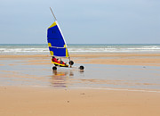 Yacht Photos - Sand Yachting on Omaha Beach by Louise Heusinkveld