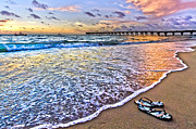 Sunset Greeting Cards Prints - Sandals Print by Debra and Dave Vanderlaan