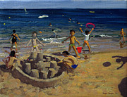 Coast Paintings - Sandcastle by Andrew Macara