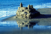 Beaches Posters - Sandcastle on beach Poster by Garry Gay
