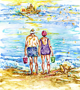Aging Painting Framed Prints - Sandcastles Framed Print by Margaret Donat