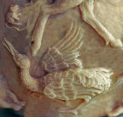 Jumping Mouse Reliefs - Sandhill Crane Detail from Bear Cub Bowl original clay by Dawn Senior-Trask