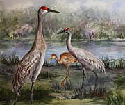 Crane Painting Originals - Sandhill Cranes On Alert by Roxanne Tobaison