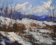 Snowscape Painting Posters - Sandhill Snow Poster by Douglas W Trowbridge