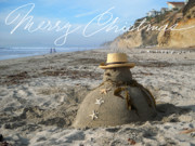 Beach Sculpture Posters - Sandman Snowman Poster by Mary Helmreich