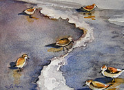 Framed Bird Prints Painting Prints - Sandpiper Seashore Print by Julianne Felton