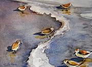 Interesting Photographs Of The Coast Of Barbados Framed Prints - Sandpiper Seashore Framed Print by Julianne Felton