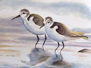 Sandpiper Painting Framed Prints - Sandpipers on Beach Framed Print by Melinda Saminski