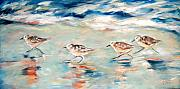 Linda Olsen Metal Prints - Sandpipers Running Metal Print by Linda Olsen