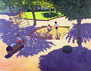 Swing Painting Metal Prints - Sandpit Metal Print by Andrew Macara