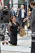Leather Belt Posters - Sandra Bullock Carrying A Prada Bag Poster by Everett