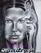 Business Cards Drawings - Sandra Bullock by Rick Hill