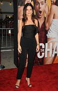 Strapless Photo Framed Prints - Sandra Bullock Wearing A Lanvin Framed Print by Everett