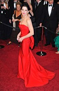 Red Dress Framed Prints - Sandra Bullock Wearing Vera Wang Dress Framed Print by Everett