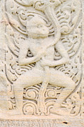 Thailand Reliefs Prints - Sandstone carving Print by Kanoksak Detboon