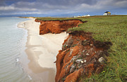 Sandstone Beach Framed Prints - Sandstone Cliffs Isles de Madeleine Framed Print by Scott Leslie