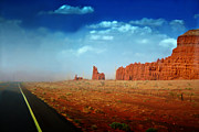 Sandstorm Prints - Sandstorm moving in to Monument Valley Print by Ellen Lacey