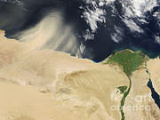 Sand Storm Prints - Sandstorm, Satellite Image Print by NASA / Science Source
