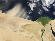Sand Storm Prints - Sandstorm, Satellite Image Print by Nasa