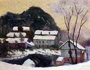 Snowfall Paintings - Sandviken Norway by Claude Monet